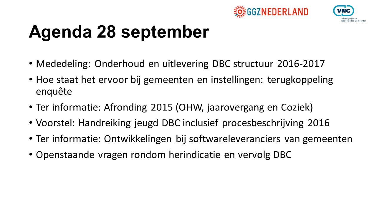 Agenda 28 september Mededeling: Onderhoud en uitlevering DBC structuur 2016-2017 Hoe staat het ervoor bij gemeenten en instellingen: terugkoppeling en