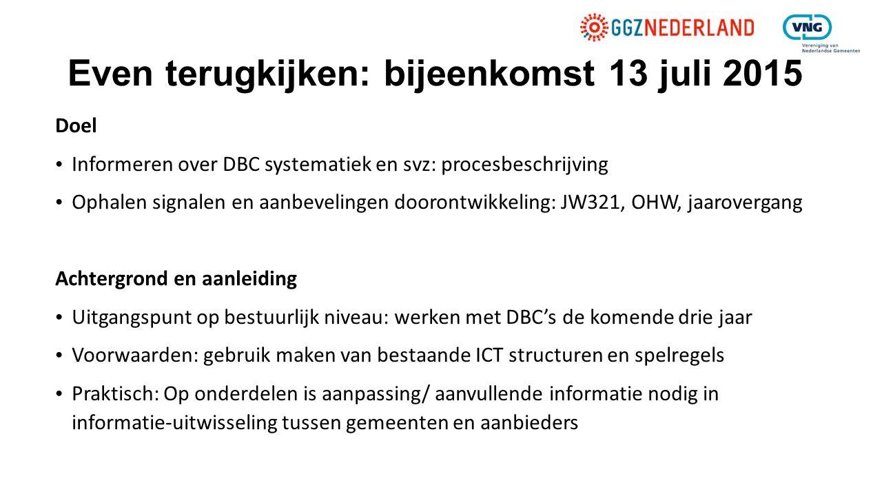 Even terugkijken: bijeenkomst 13 juli 2015 Doel Informeren over DBC systematiek en svz: procesbeschrijving Ophalen signalen en aanbevelingen doorontwi