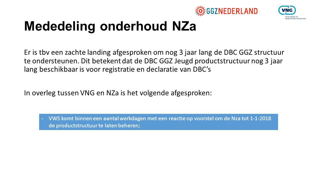Mededeling onderhoud NZa Er is tbv een zachte landing afgesproken om nog 3 jaar lang de DBC GGZ structuur te ondersteunen. Dit betekent dat de DBC GGZ