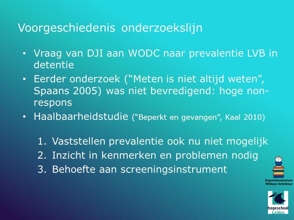 """Vraag van DJI aan WODC naar prevalentie LVB in detentie Eerder onderzoek (""""Meten is niet altijd weten"""", Spaans 2005) was niet bevredigend: hoge non- r"""