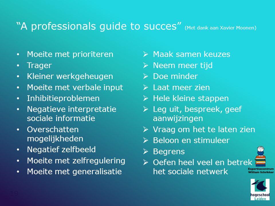 """19 """"A professionals guide to succes"""" (Met dank aan Xavier Moonen) Moeite met prioriteren Trager Kleiner werkgeheugen Moeite met verbale input Inhibiti"""