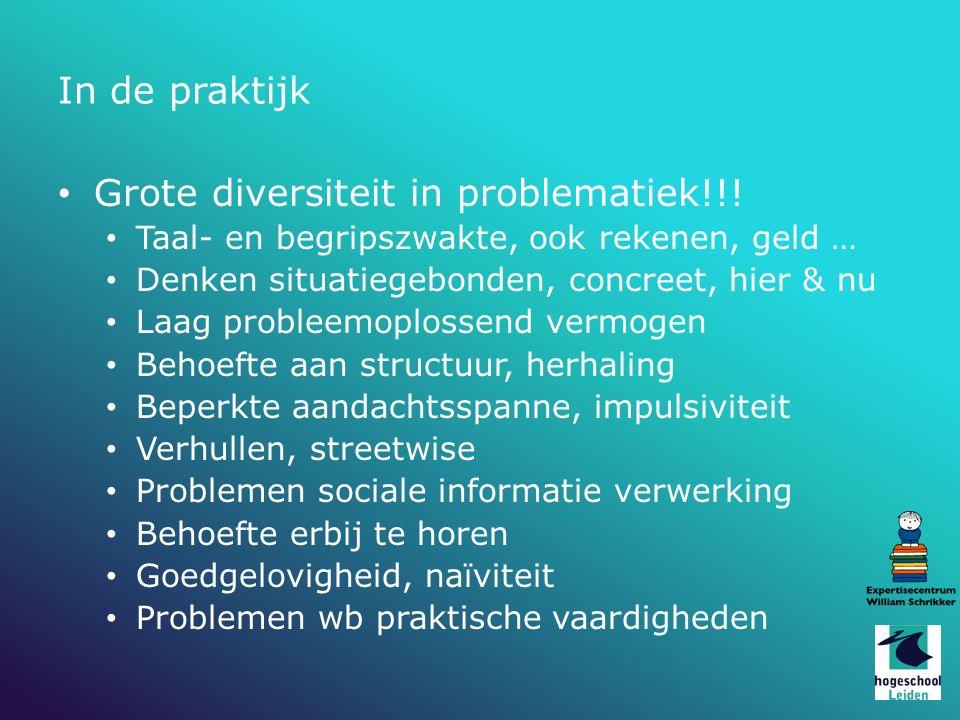 In de praktijk Grote diversiteit in problematiek!!! Taal- en begripszwakte, ook rekenen, geld … Denken situatiegebonden, concreet, hier & nu Laag prob