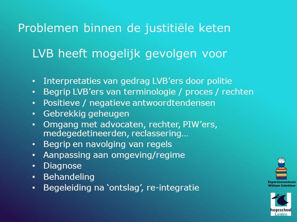 Problemen binnen de justitiële keten LVB heeft mogelijk gevolgen voor Interpretaties van gedrag LVB'ers door politie Begrip LVB'ers van terminologie /