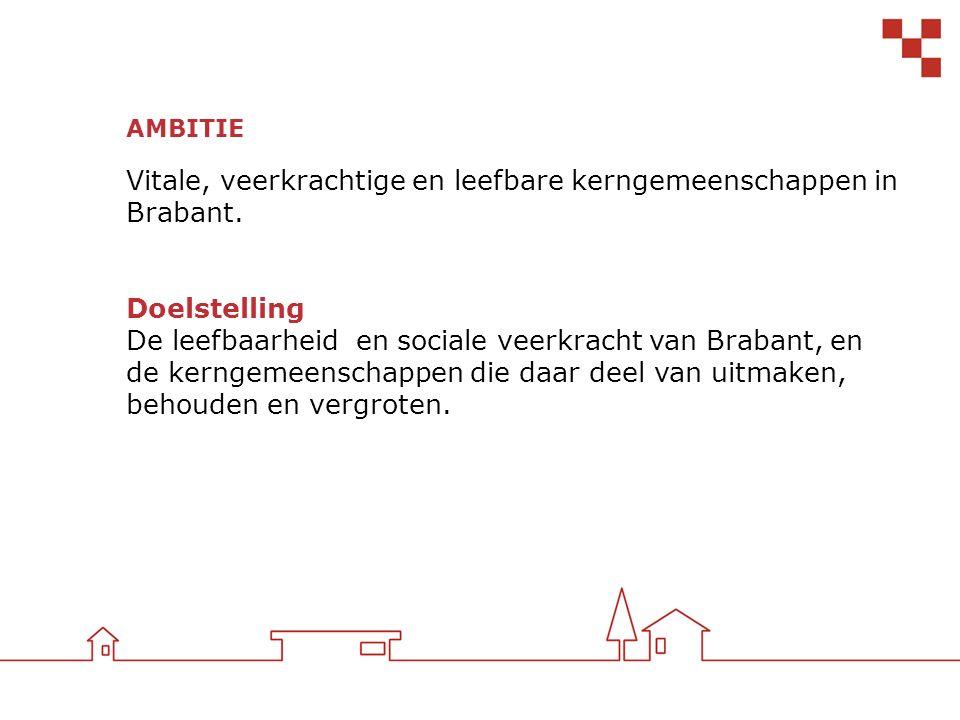 AMBITIE Vitale, veerkrachtige en leefbare kerngemeenschappen in Brabant. Doelstelling De leefbaarheid en sociale veerkracht van Brabant, en de kerngem