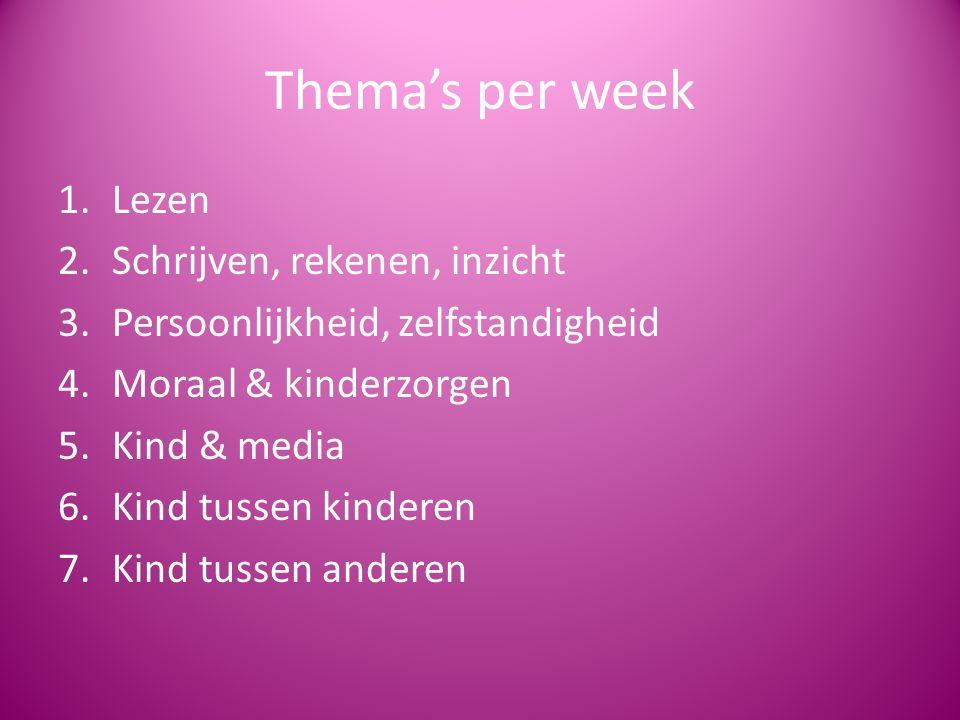 Thema's per week 1.Lezen 2.Schrijven, rekenen, inzicht 3.Persoonlijkheid, zelfstandigheid 4.Moraal & kinderzorgen 5.Kind & media 6.Kind tussen kinderen 7.Kind tussen anderen