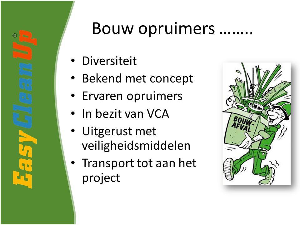 Diversiteit Bekend met concept Ervaren opruimers In bezit van VCA Uitgerust met veiligheidsmiddelen Transport tot aan het project Bouw opruimers ……..
