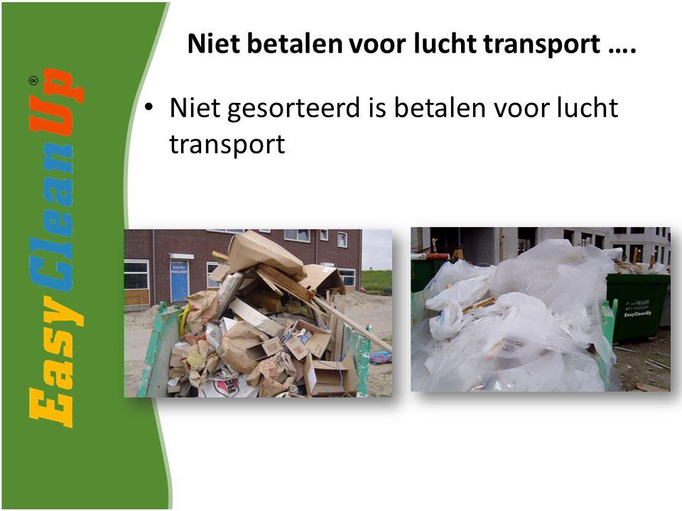 Niet gesorteerd is betalen voor lucht transport Niet betalen voor lucht transport ….