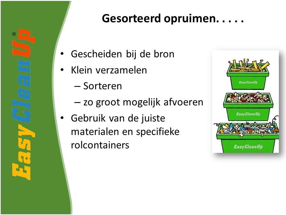 Gescheiden bij de bron Klein verzamelen – Sorteren – zo groot mogelijk afvoeren Gebruik van de juiste materialen en specifieke rolcontainers Gesorteerd opruimen.....