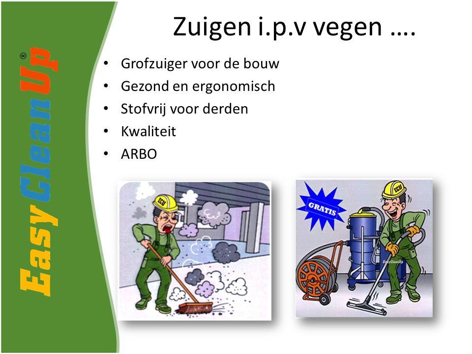 Grofzuiger voor de bouw Gezond en ergonomisch Stofvrij voor derden Kwaliteit ARBO Zuigen i.p.v vegen ….
