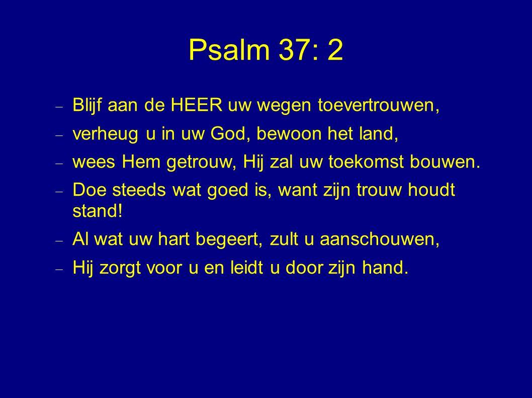 Psalm 37: 2  Blijf aan de HEER uw wegen toevertrouwen,  verheug u in uw God, bewoon het land,  wees Hem getrouw, Hij zal uw toekomst bouwen.