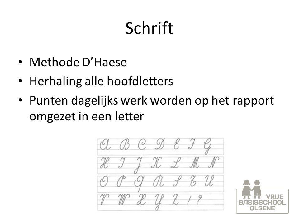 Schrift Methode D'Haese Herhaling alle hoofdletters Punten dagelijks werk worden op het rapport omgezet in een letter