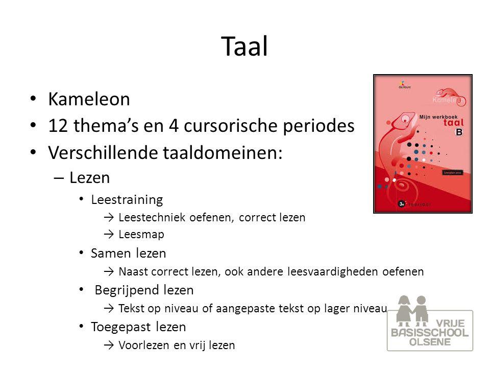 Taal Kameleon 12 thema's en 4 cursorische periodes Verschillende taaldomeinen: – Lezen Leestraining → Leestechniek oefenen, correct lezen → Leesmap Sa