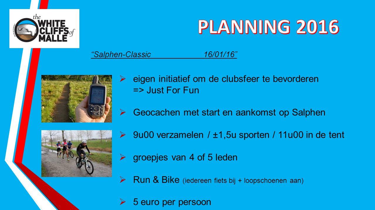 Salphen-Classic16/01/16  eigen initiatief om de clubsfeer te bevorderen => Just For Fun  Geocachen met start en aankomst op Salphen  9u00 verzamelen / ±1,5u sporten / 11u00 in de tent  groepjes van 4 of 5 leden  Run & Bike (iedereen fiets bij + loopschoenen aan)  5 euro per persoon