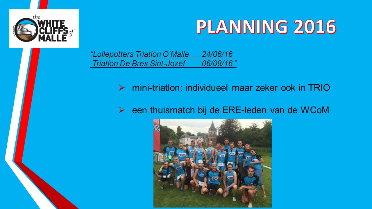 Lollepotters Triatlon O'Malle24/06/16 Triatlon De Bres Sint-Jozef06/08/16  mini-triatlon: individueel maar zeker ook in TRIO  een thuismatch bij de ERE-leden van de WCoM