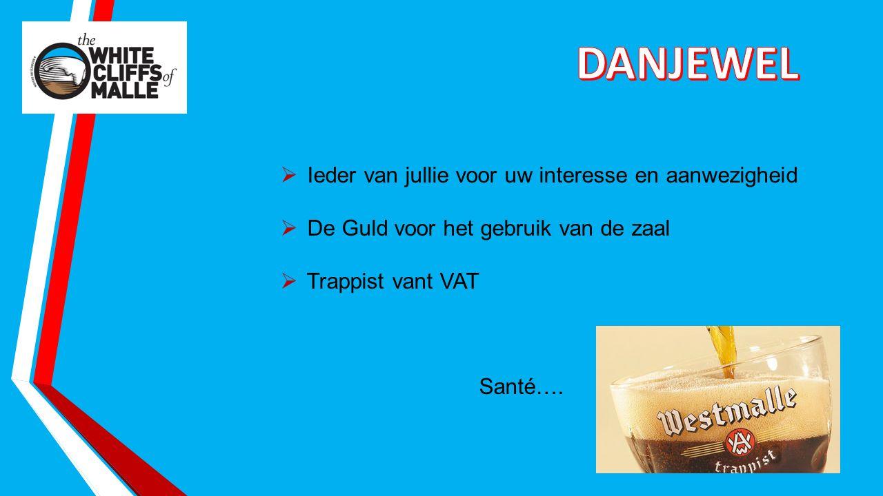  Ieder van jullie voor uw interesse en aanwezigheid  De Guld voor het gebruik van de zaal  Trappist vant VAT Santé….