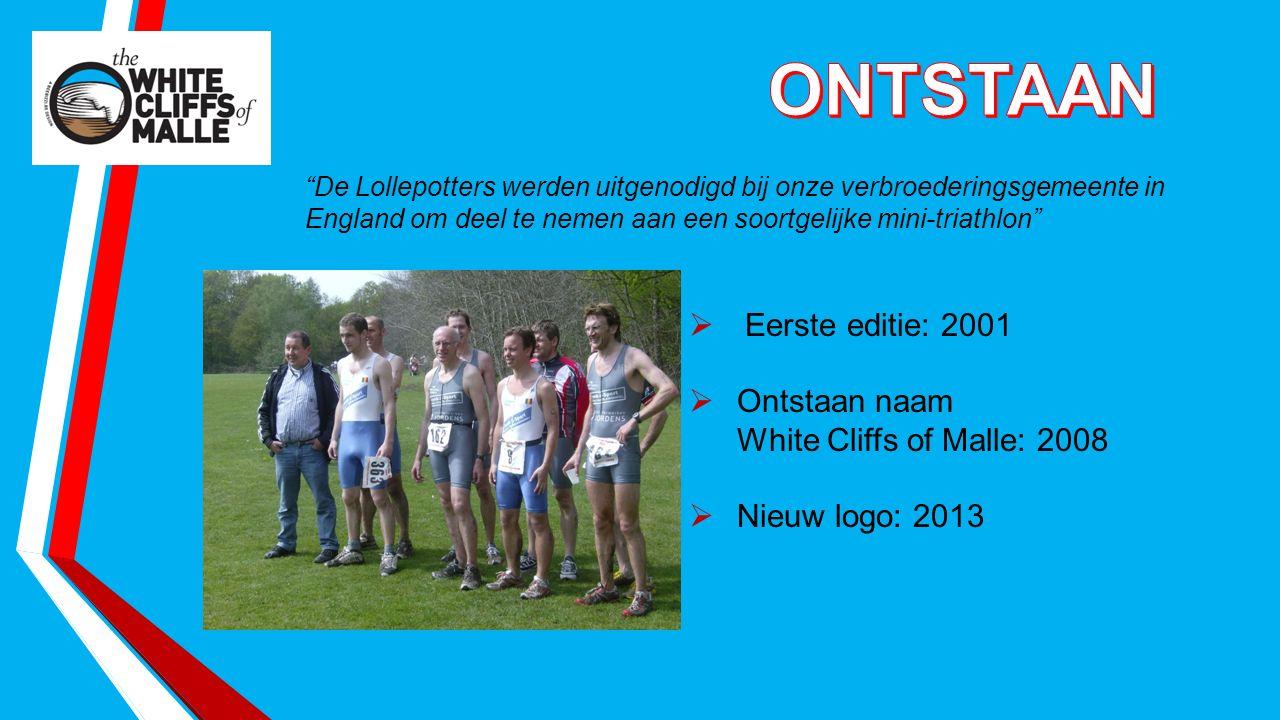 De Lollepotters werden uitgenodigd bij onze verbroederingsgemeente in England om deel te nemen aan een soortgelijke mini-triathlon  Eerste editie: 2001  Ontstaan naam White Cliffs of Malle: 2008  Nieuw logo: 2013
