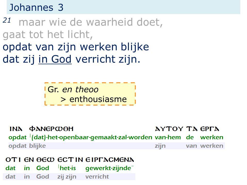 Johannes 3 21 maar wie de waarheid doet, gaat tot het licht, opdat van zijn werken blijke dat zij in God verricht zijn. Gr. en theoo > enthousiasme