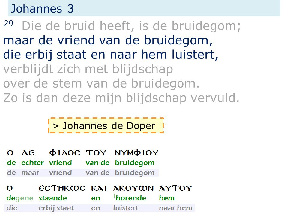 Johannes 3 29 Die de bruid heeft, is de bruidegom; maar de vriend van de bruidegom, die erbij staat en naar hem luistert, verblijdt zich met blijdscha