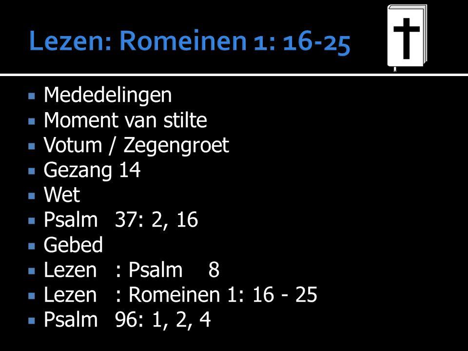  Mededelingen  Moment van stilte  Votum / Zegengroet  Gezang 14  Wet  Psalm 37: 2, 16  Gebed  Lezen: Psalm 8  Lezen: Romeinen 1: 16 - 25  Psalm 96: 1, 2, 4  Lezen: Zondag 36  Preek  Gezang 161  Gebed  Collecte  Gezang 165  Zegen
