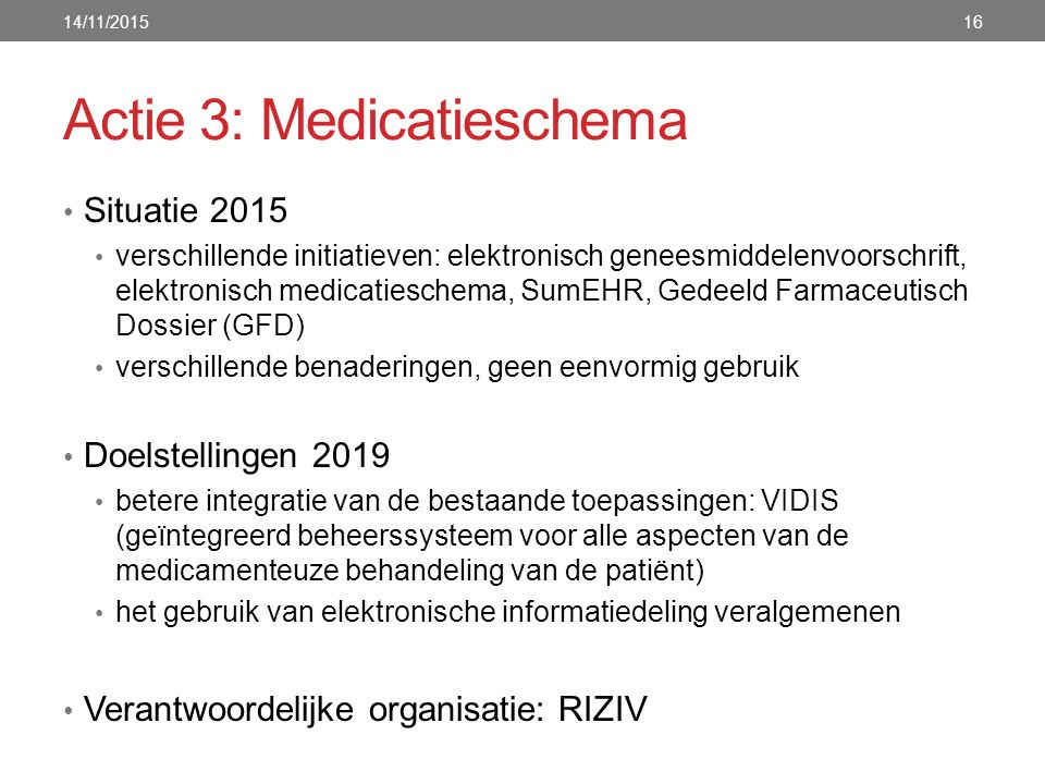 Actie 3: Medicatieschema Situatie 2015 verschillende initiatieven: elektronisch geneesmiddelenvoorschrift, elektronisch medicatieschema, SumEHR, Gedee