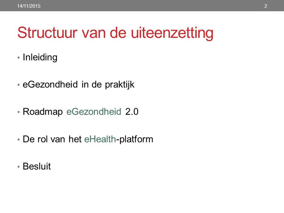 Structuur van de uiteenzetting Inleiding eGezondheid in de praktijk Roadmap eGezondheid 2.0 De rol van het eHealth-platform Besluit 14/11/20152