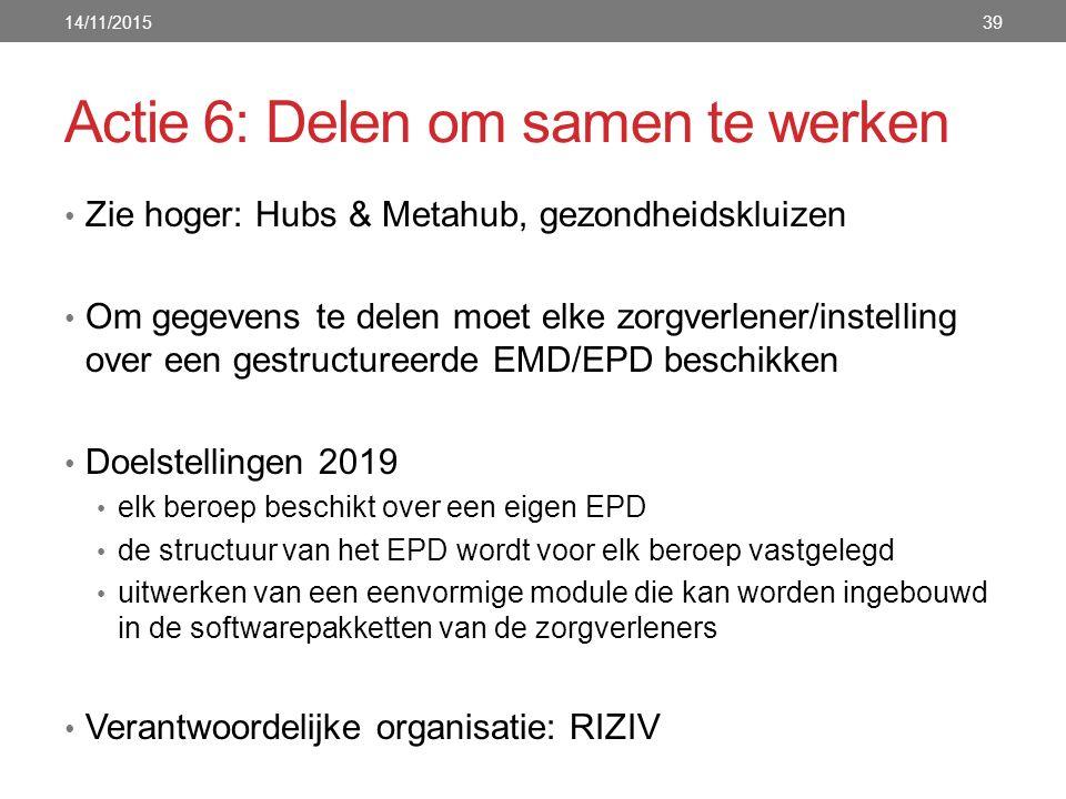 Actie 6: Delen om samen te werken Zie hoger: Hubs & Metahub, gezondheidskluizen Om gegevens te delen moet elke zorgverlener/instelling over een gestructureerde EMD/EPD beschikken Doelstellingen 2019 elk beroep beschikt over een eigen EPD de structuur van het EPD wordt voor elk beroep vastgelegd uitwerken van een eenvormige module die kan worden ingebouwd in de softwarepakketten van de zorgverleners Verantwoordelijke organisatie: RIZIV 14/11/201539