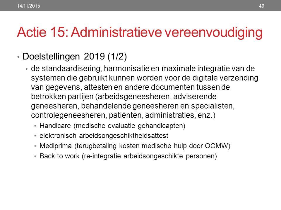 Actie 15: Administratieve vereenvoudiging Doelstellingen 2019 (1/2) de standaardisering, harmonisatie en maximale integratie van de systemen die gebruikt kunnen worden voor de digitale verzending van gegevens, attesten en andere documenten tussen de betrokken partijen (arbeidsgeneesheren, adviserende geneesheren, behandelende geneesheren en specialisten, controlegeneesheren, patiënten, administraties, enz.) Handicare (medische evaluatie gehandicapten) elektronisch arbeidsongeschiktheidsattest Mediprima (terugbetaling kosten medische hulp door OCMW) Back to work (re-integratie arbeidsongeschikte personen) 14/11/201549