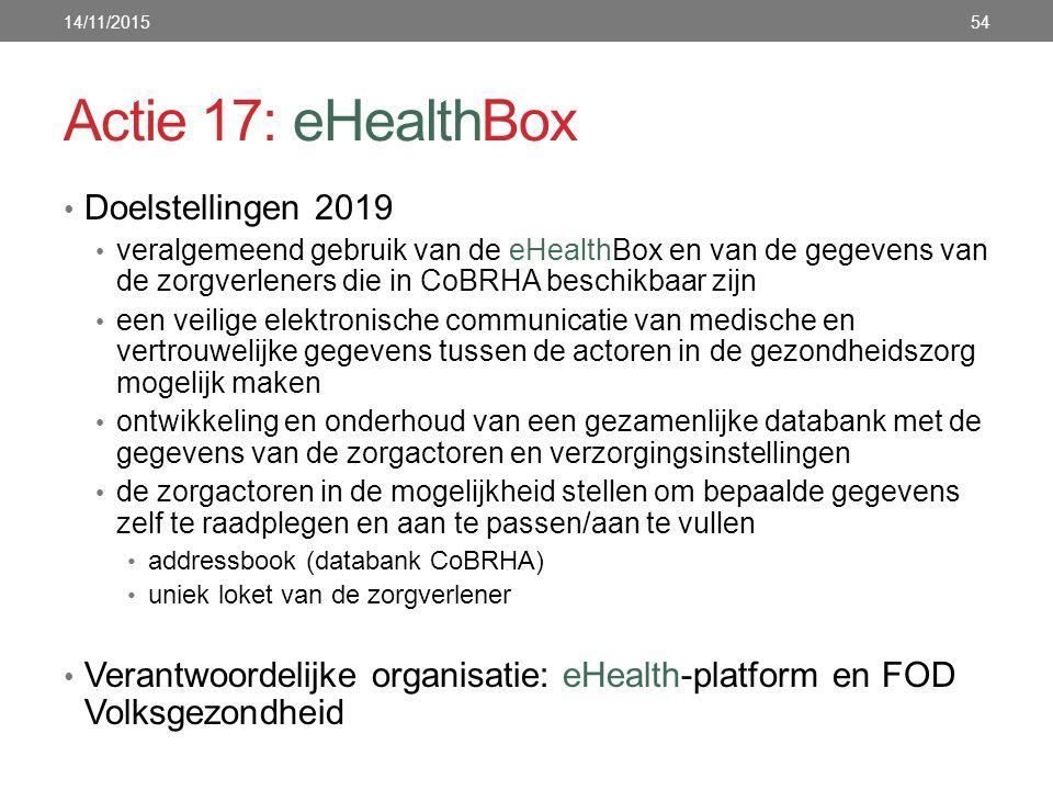 Actie 17: eHealthBox Doelstellingen 2019 veralgemeend gebruik van de eHealthBox en van de gegevens van de zorgverleners die in CoBRHA beschikbaar zijn een veilige elektronische communicatie van medische en vertrouwelijke gegevens tussen de actoren in de gezondheidszorg mogelijk maken ontwikkeling en onderhoud van een gezamenlijke databank met de gegevens van de zorgactoren en verzorgingsinstellingen de zorgactoren in de mogelijkheid stellen om bepaalde gegevens zelf te raadplegen en aan te passen/aan te vullen addressbook (databank CoBRHA) uniek loket van de zorgverlener Verantwoordelijke organisatie: eHealth-platform en FOD Volksgezondheid 14/11/201554