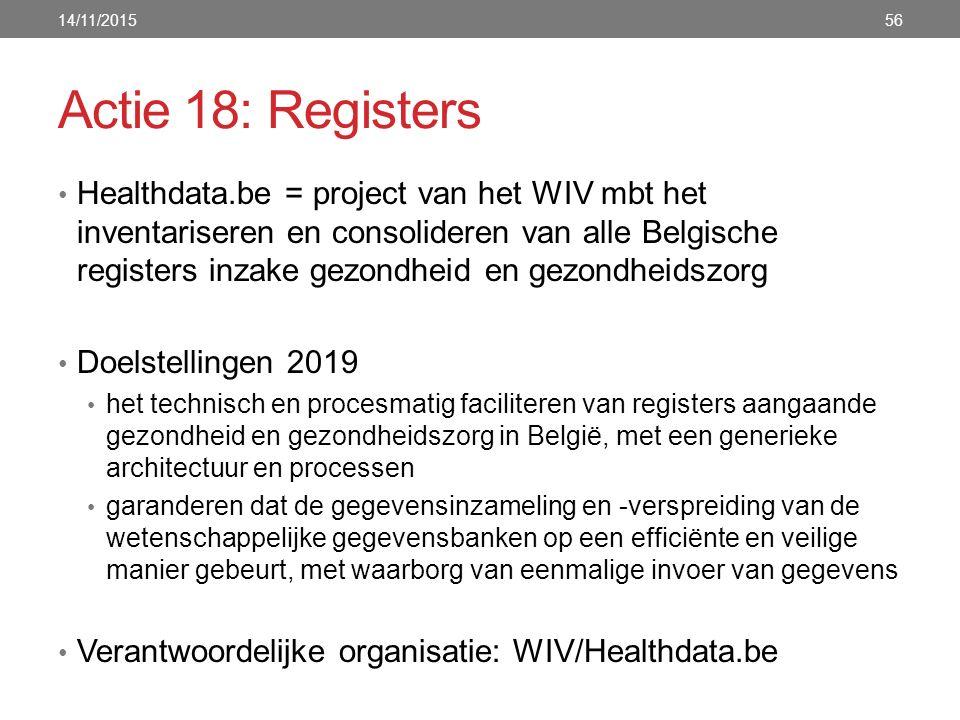 Actie 18: Registers Healthdata.be = project van het WIV mbt het inventariseren en consolideren van alle Belgische registers inzake gezondheid en gezondheidszorg Doelstellingen 2019 het technisch en procesmatig faciliteren van registers aangaande gezondheid en gezondheidszorg in België, met een generieke architectuur en processen garanderen dat de gegevensinzameling en -verspreiding van de wetenschappelijke gegevensbanken op een efficiënte en veilige manier gebeurt, met waarborg van eenmalige invoer van gegevens Verantwoordelijke organisatie: WIV/Healthdata.be 14/11/201556