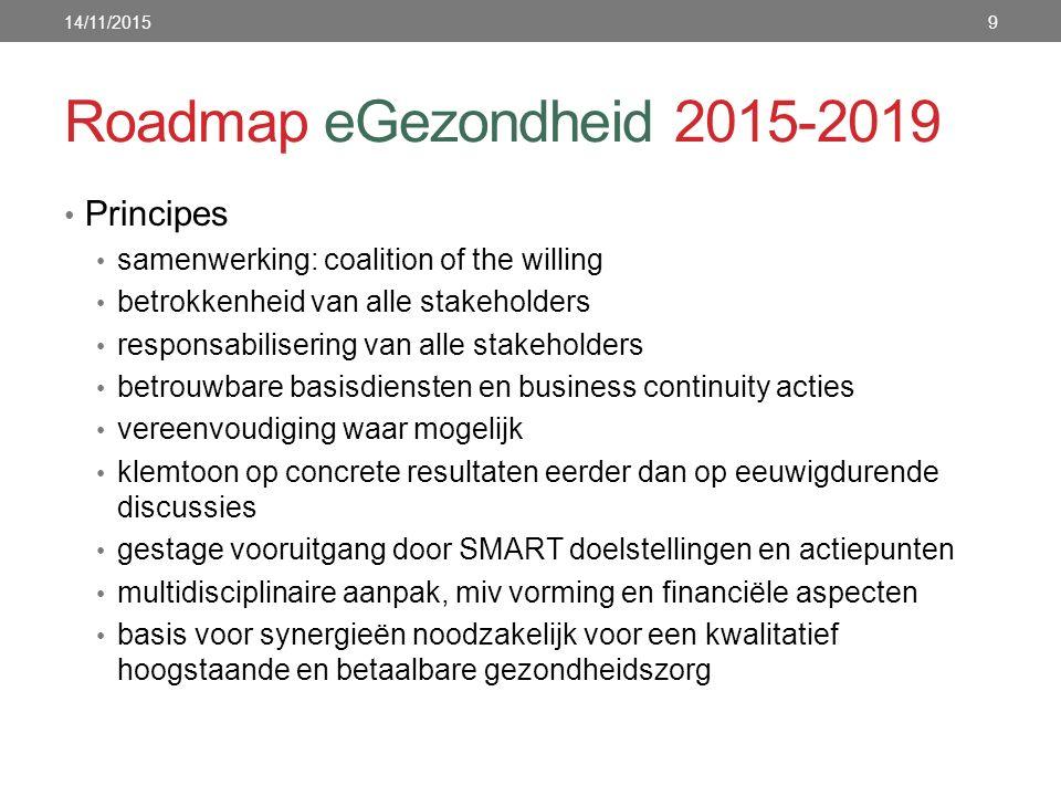Roadmap eGezondheid 2015-2019 Principes samenwerking: coalition of the willing betrokkenheid van alle stakeholders responsabilisering van alle stakeho