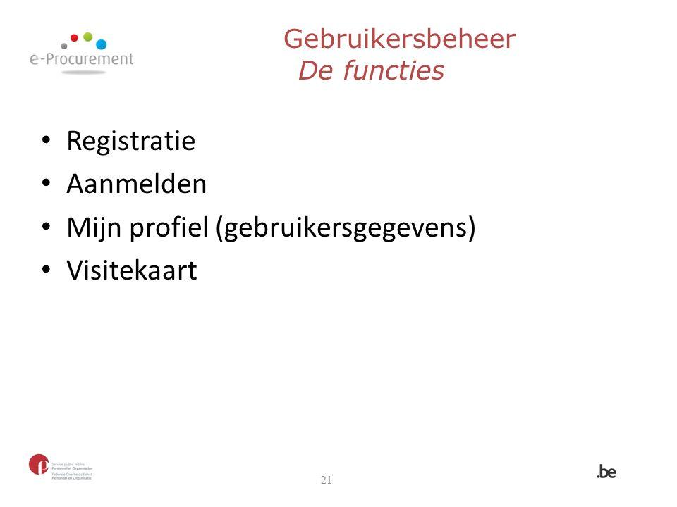 Gebruikersbeheer De functies Registratie Aanmelden Mijn profiel (gebruikersgegevens) Visitekaart 21