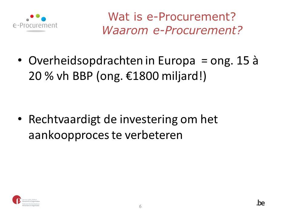 Overheidsopdrachten in Europa = ong. 15 à 20 % vh BBP (ong.