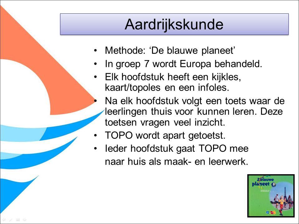 Methode: 'De blauwe planeet' In groep 7 wordt Europa behandeld. Elk hoofdstuk heeft een kijkles, kaart/topoles en een infoles. Na elk hoofdstuk volgt