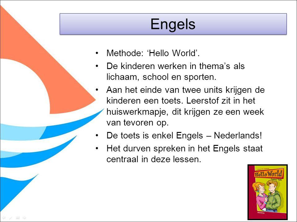 Methode: 'Hello World'. De kinderen werken in thema's als lichaam, school en sporten. Aan het einde van twee units krijgen de kinderen een toets. Leer