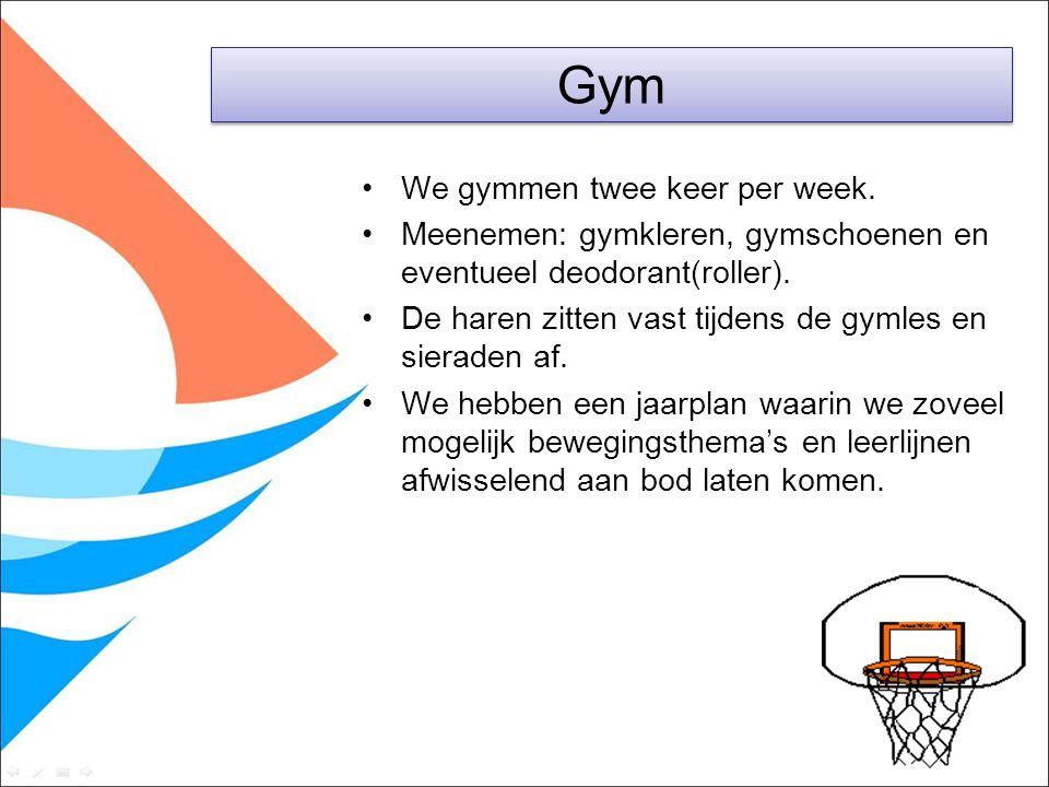 We gymmen twee keer per week. Meenemen: gymkleren, gymschoenen en eventueel deodorant(roller). De haren zitten vast tijdens de gymles en sieraden af.