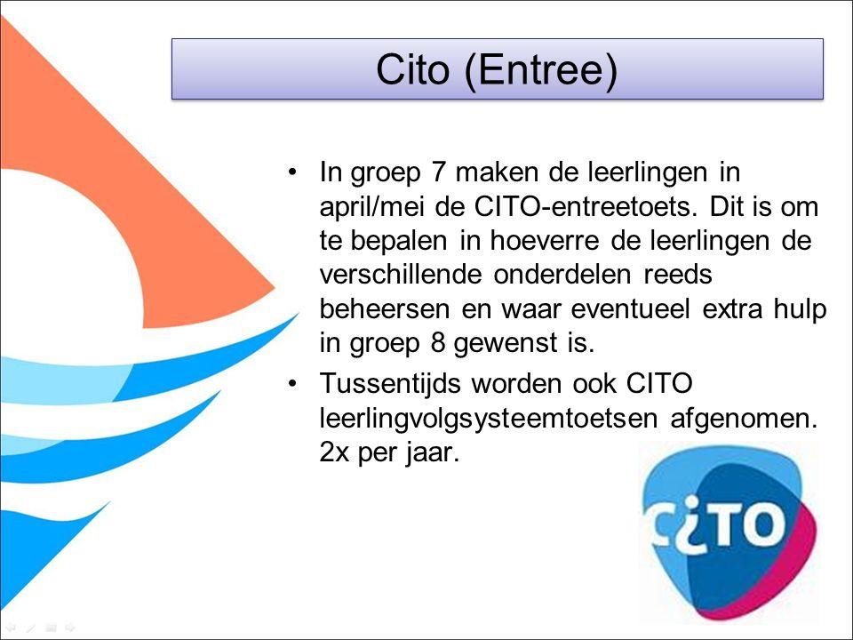 In groep 7 maken de leerlingen in april/mei de CITO-entreetoets. Dit is om te bepalen in hoeverre de leerlingen de verschillende onderdelen reeds behe