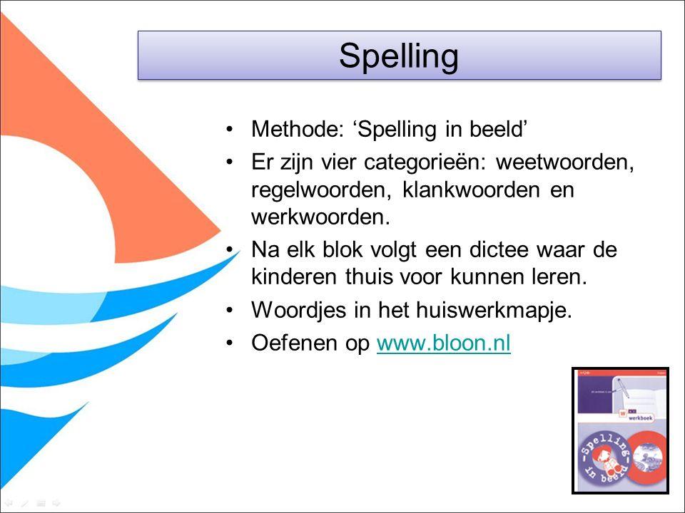 Methode: 'Spelling in beeld' Er zijn vier categorieën: weetwoorden, regelwoorden, klankwoorden en werkwoorden. Na elk blok volgt een dictee waar de ki