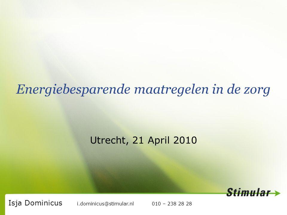Stimular, de werkplaats voor Duurzaam Ondernemen Energiebesparende maatregelen in de zorg Utrecht, 21 April 2010 Isja Dominicus i.dominicus@stimular.nl 010 – 238 28 28