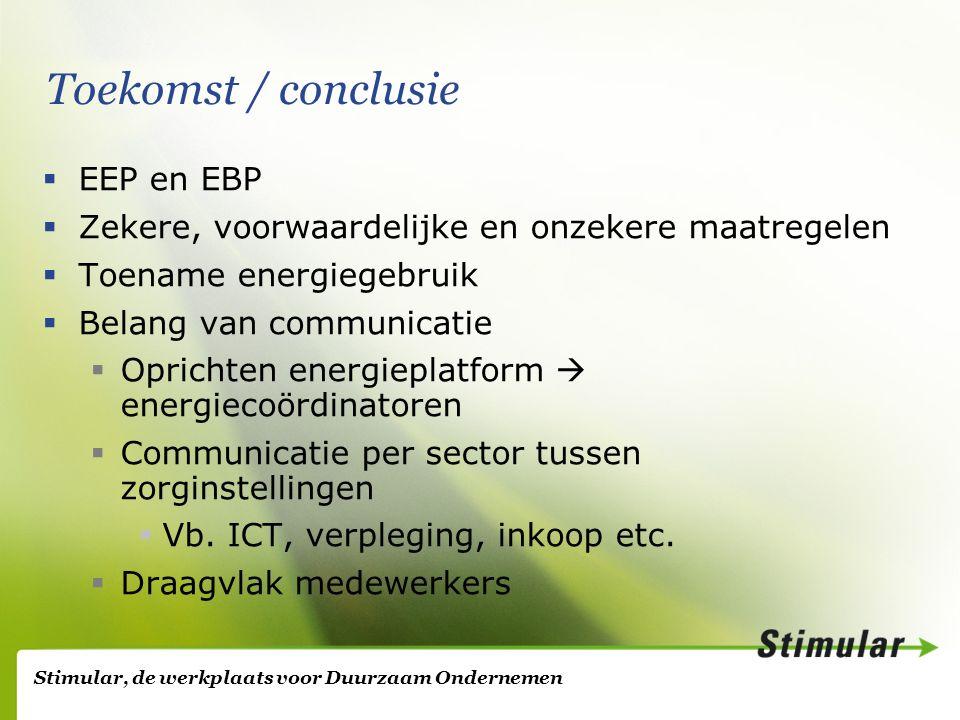 Stimular, de werkplaats voor Duurzaam Ondernemen Toekomst / conclusie  EEP en EBP  Zekere, voorwaardelijke en onzekere maatregelen  Toename energiegebruik  Belang van communicatie  Oprichten energieplatform  energiecoördinatoren  Communicatie per sector tussen zorginstellingen  Vb.