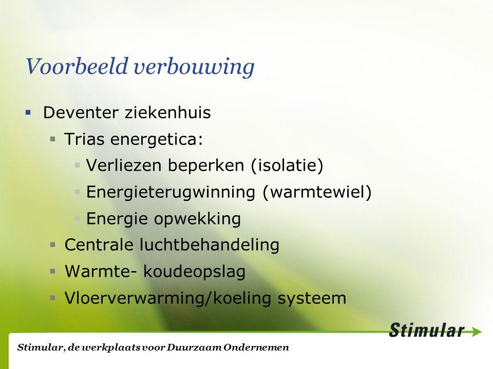 Stimular, de werkplaats voor Duurzaam Ondernemen Voorbeeld verbouwing  Deventer ziekenhuis  Trias energetica:  Verliezen beperken (isolatie)  Energieterugwinning (warmtewiel)  Energie opwekking  Centrale luchtbehandeling  Warmte- koudeopslag  Vloerverwarming/koeling systeem