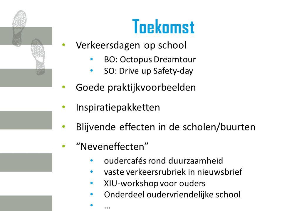 Toekomst Verkeersdagen op school BO: Octopus Dreamtour SO: Drive up Safety-day Goede praktijkvoorbeelden Inspiratiepakketten Blijvende effecten in de scholen/buurten Neveneffecten oudercafés rond duurzaamheid vaste verkeersrubriek in nieuwsbrief XIU-workshop voor ouders Onderdeel oudervriendelijke school …