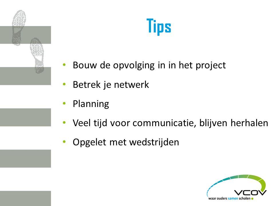 Tips Bouw de opvolging in in het project Betrek je netwerk Planning Veel tijd voor communicatie, blijven herhalen Opgelet met wedstrijden