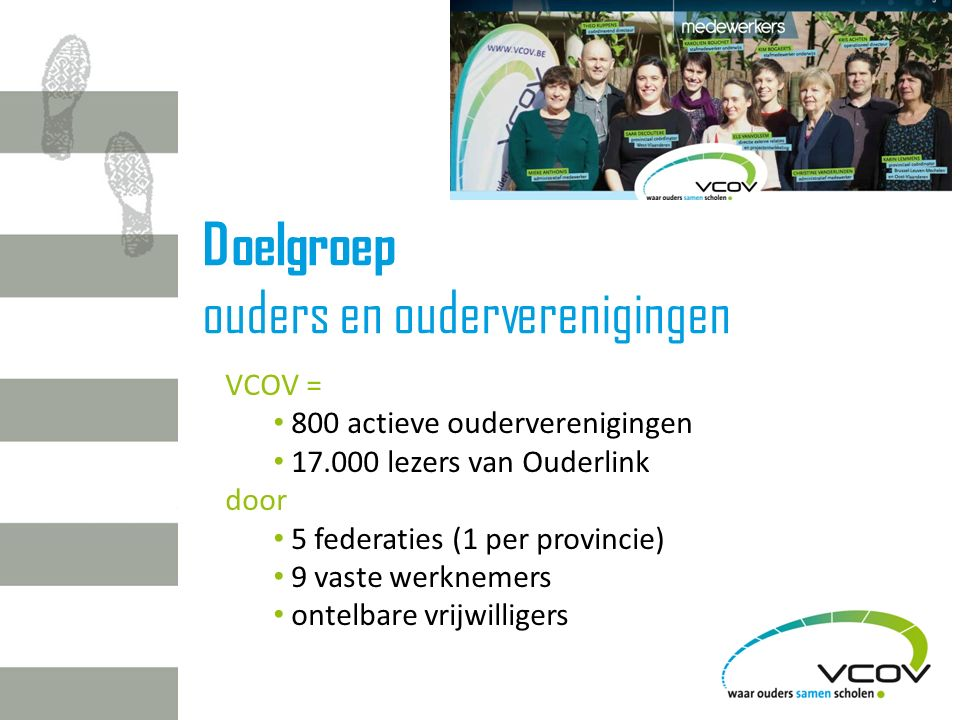 Doelgroep ouders en ouderverenigingen VCOV = 800 actieve ouderverenigingen 17.000 lezers van Ouderlink door 5 federaties (1 per provincie) 9 vaste werknemers ontelbare vrijwilligers