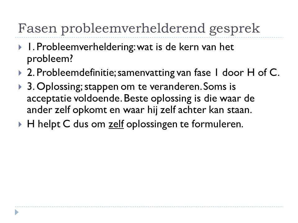 Fasen probleemverhelderend gesprek  1.Probleemverheldering: wat is de kern van het probleem.