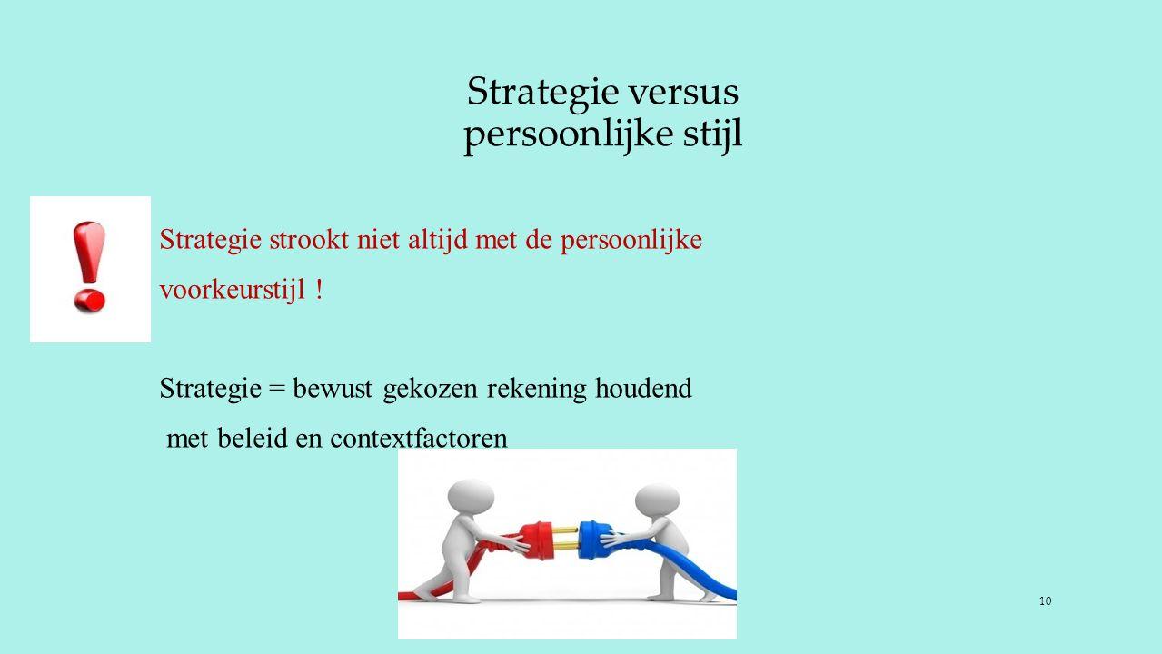 Strategie versus persoonlijke stijl Strategie strookt niet altijd met de persoonlijke voorkeurstijl ! Strategie = bewust gekozen rekening houdend met