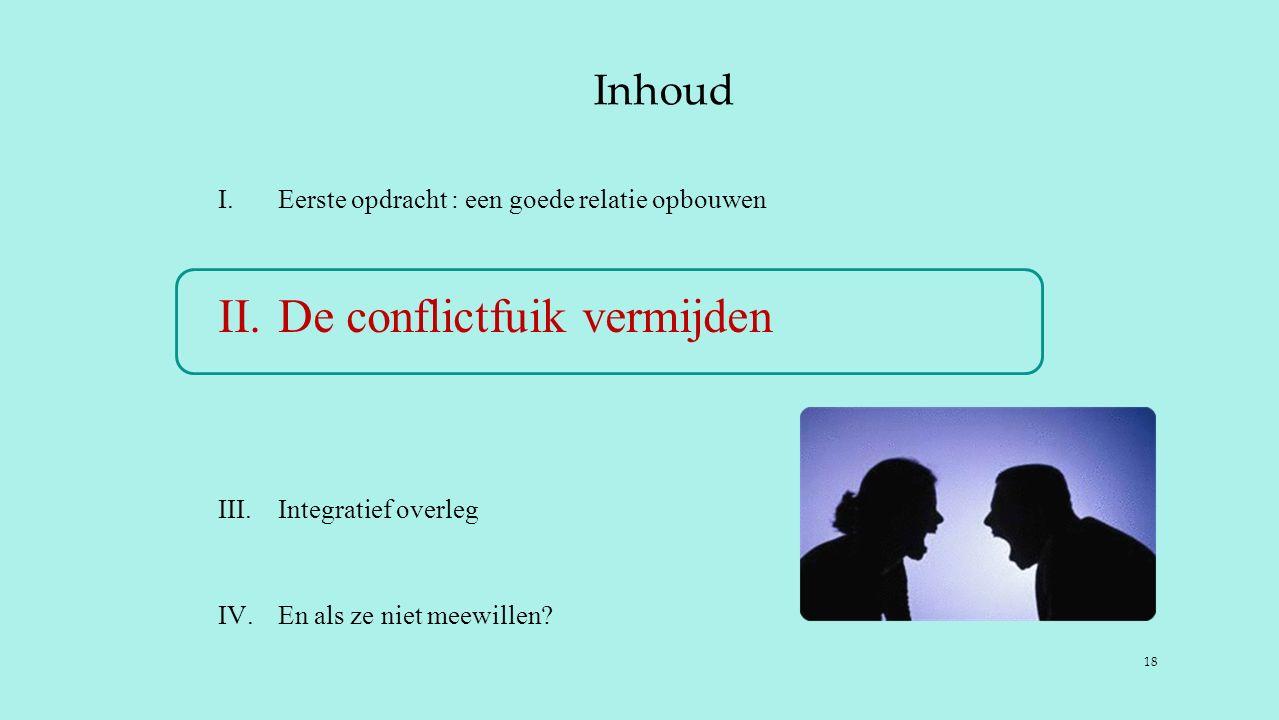 Inhoud I.Eerste opdracht : een goede relatie opbouwen II.De conflictfuik vermijden III.Integratief overleg IV.En als ze niet meewillen.