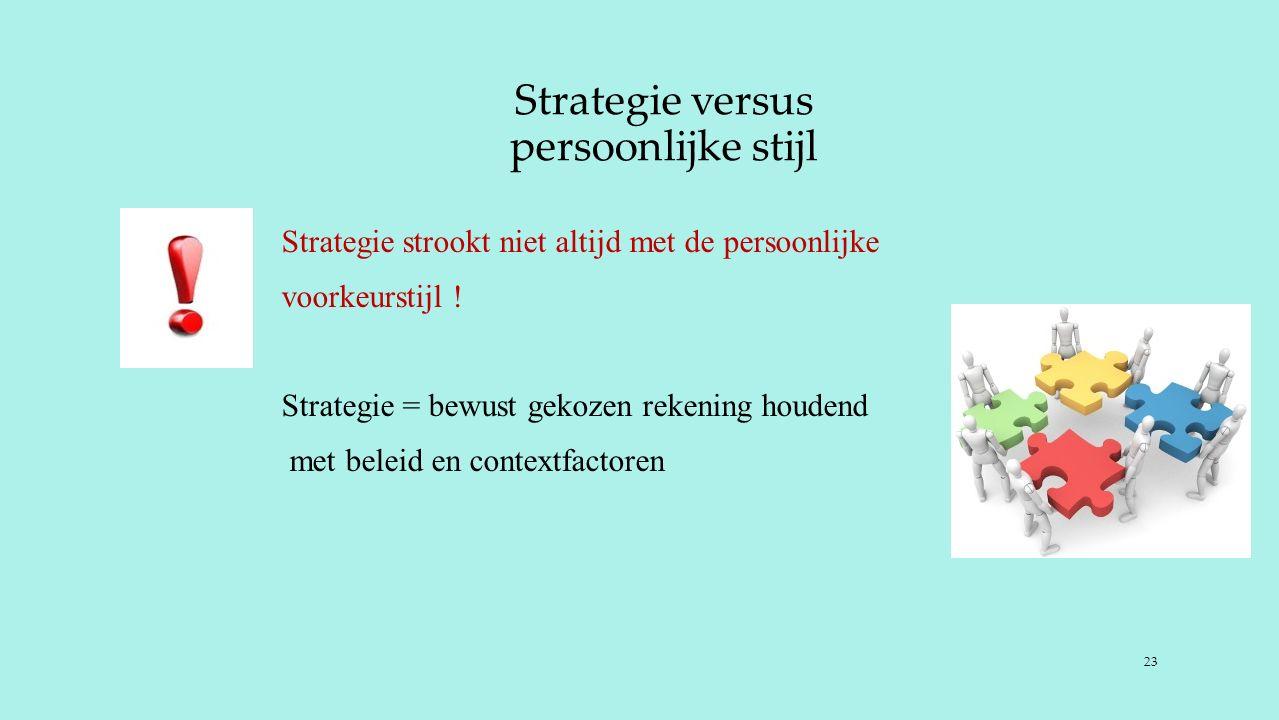 Strategie versus persoonlijke stijl Strategie strookt niet altijd met de persoonlijke voorkeurstijl .