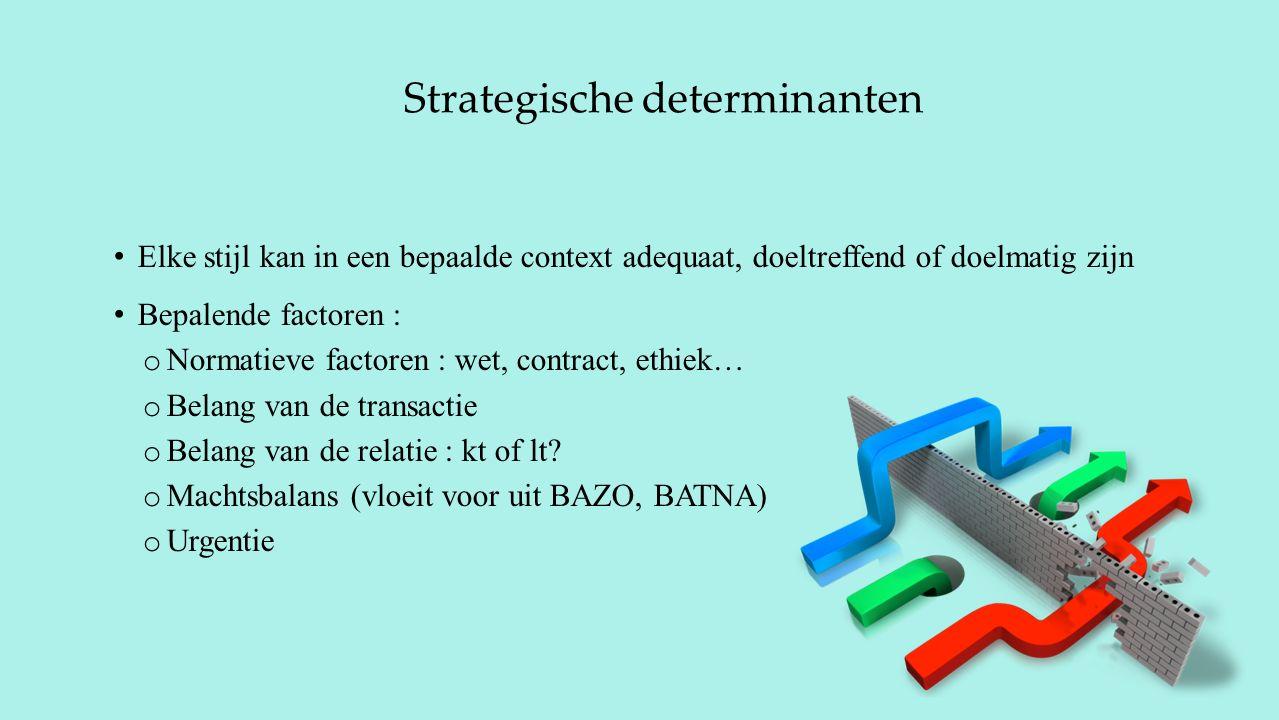 Strategische determinanten Elke stijl kan in een bepaalde context adequaat, doeltreffend of doelmatig zijn Bepalende factoren : o Normatieve factoren : wet, contract, ethiek… o Belang van de transactie o Belang van de relatie : kt of lt.
