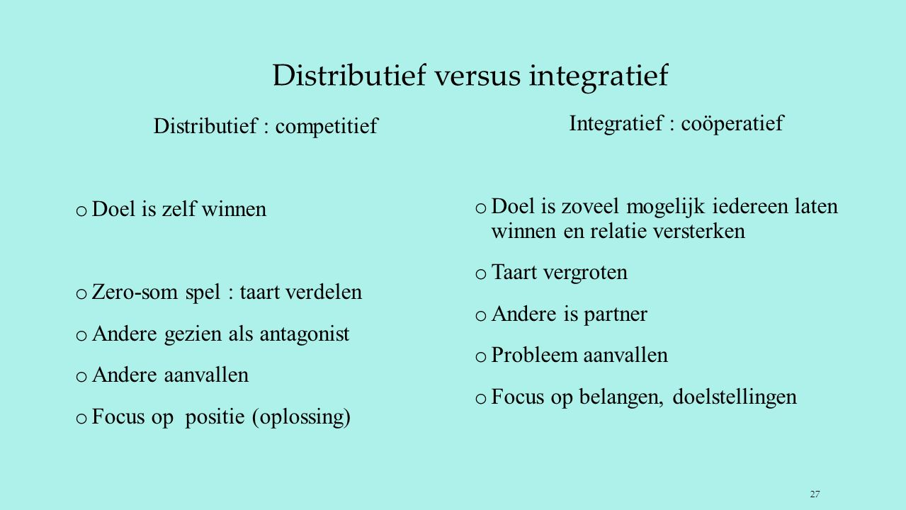 Distributief versus integratief Distributief : competitief o Doel is zelf winnen o Zero-som spel : taart verdelen o Andere gezien als antagonist o And