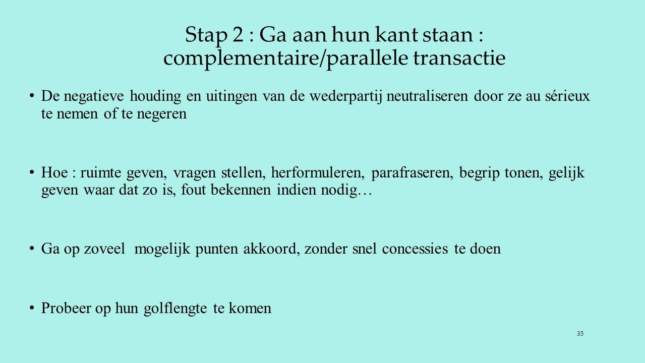 Stap 2 : Ga aan hun kant staan : complementaire/parallele transactie De negatieve houding en uitingen van de wederpartij neutraliseren door ze au séri
